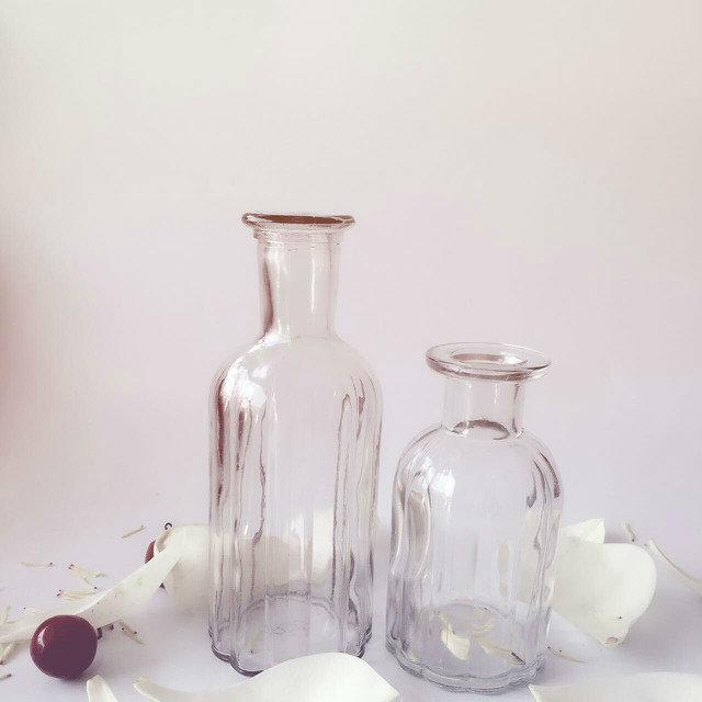 简约复古欧式玻璃花瓶小口竖条
