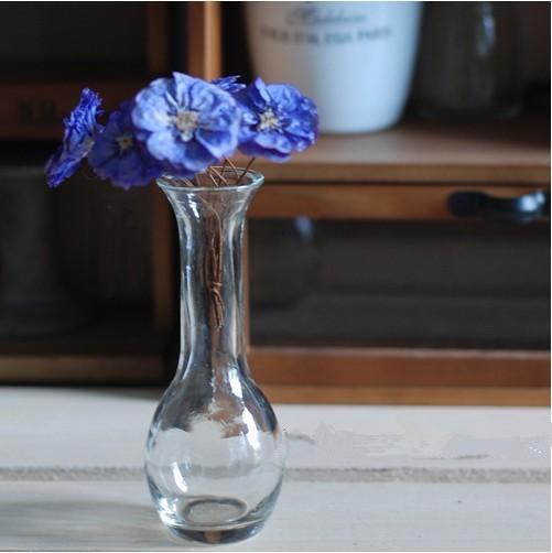 简约风格透明玻璃花瓶细颈花瓶图片