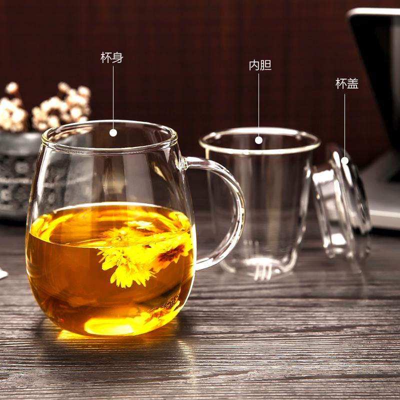 加厚玻璃花茶杯办公室过滤泡茶杯图片