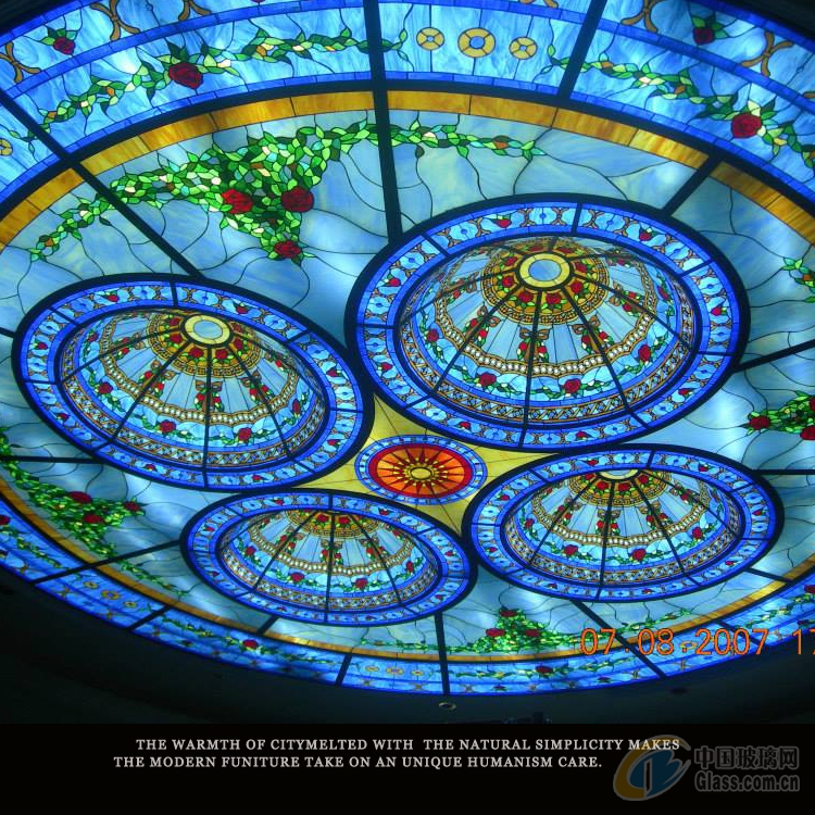 獨家設計高端別墅彩色玻璃穹頂