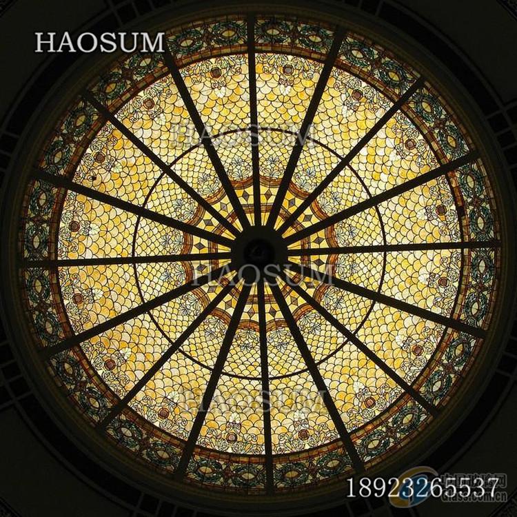 欧式工艺定做精美彩色玻璃穹顶
