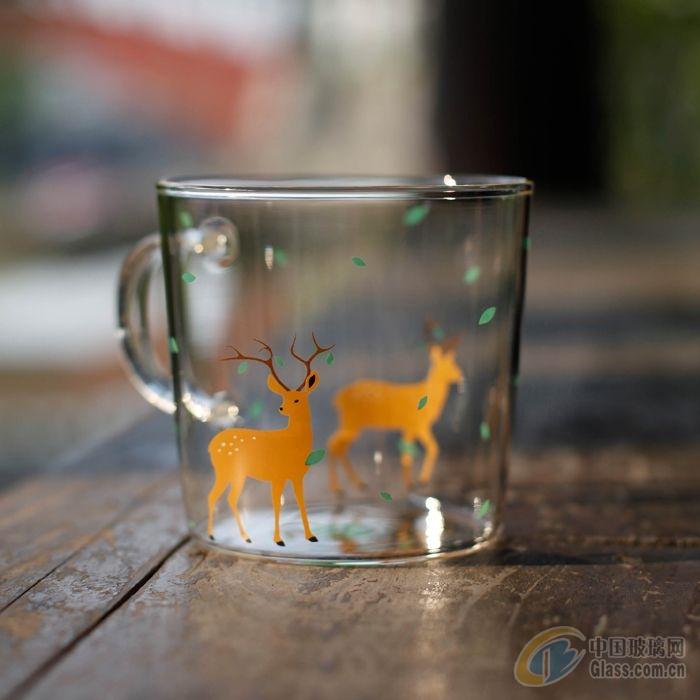 玻璃杯子可爱牛奶情侣水杯