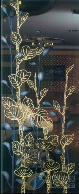 > 艺术雕花玻璃隔断屏风装饰拼镜