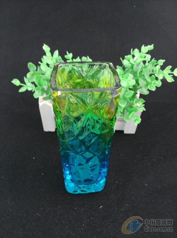 > 创意彩色欧式玻璃花瓶 裂纹彩色花瓶 玻璃工艺品