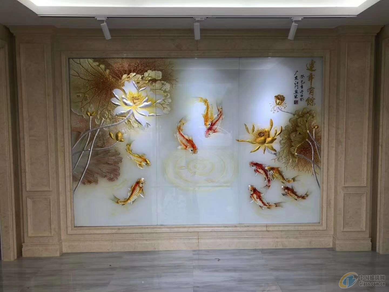 中国艺术资讯电视�_中国玻璃网 资讯 产品图片 > 工艺艺术雕刻玻璃电视背景墙  &#xe636