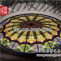 彩绘玻璃穹顶新现代古典艺术圆博工艺