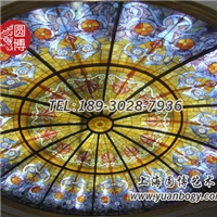宫廷风彩色玻璃穹顶圆博工艺