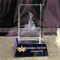 广州水晶五羊内雕摆件水晶