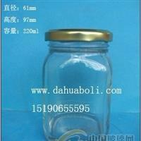 厂家直销220ml方形酱菜玻璃瓶,麻辣酱玻璃瓶价格
