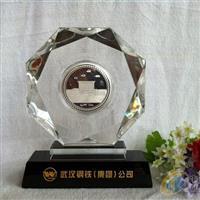 武汉水晶奖牌 钢铁公司纪念品