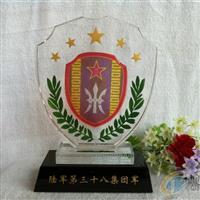 水晶陆军建军节纪念品 水晶奖牌