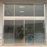 杭州不锈钢有框黑钛金玻璃门安装
