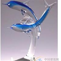 供应彩色玻璃海豚摆件