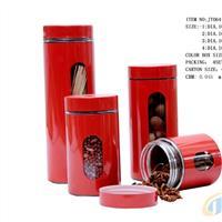 供应红色玻璃罐 套皮玻璃罐济南