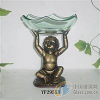 YF29553玻璃水果盆含铁架
