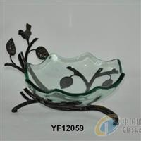 YF12059玻璃水果盆含铁架
