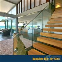 12mm白玻钢化楼梯护栏玻璃