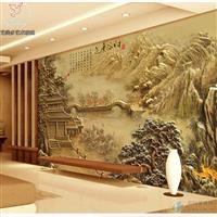 鼎亨艺术玻璃客厅背景墙浮雕壁画
