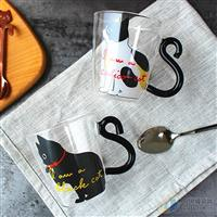 创意猫咪耐热玻璃杯早餐杯牛奶杯布丁杯慕斯杯冷饮杯
