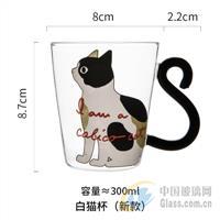 创意猫咪耐热玻璃杯早餐杯牛奶杯布丁杯慕斯杯冷饮杯厂