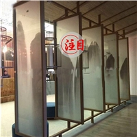 夹丝艺术玻璃厂家定制中式电视背景墙玄关隔断夹绢玻璃