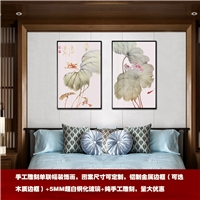 中式风格雕刻荷塘装饰画 床头雕刻画