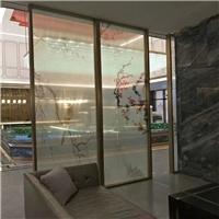 夹绢丝画玻璃 花鸟绢丝半透玻璃 屏风夹画玻璃