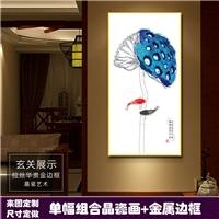 酒店走廊玄关装饰画莲花晶瓷画