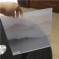 夹山水画玻璃 夹绢丝画玻璃 半透明夹画玻璃