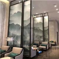 半透明夹山水画玻璃 夹花鸟绢丝画玻璃 半透明夹画玻璃