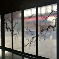 夹山水画玻璃 售楼部屏风山水画玻璃 移门抽象画玻璃