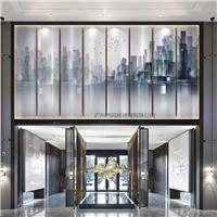 酒店装饰屏风夹画玻璃 夹山水画玻璃 夹绢玻璃山水画