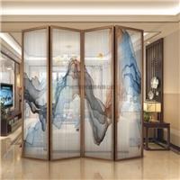 酒店装饰屏风夹画玻璃 夹山水画玻璃 夹绢玻璃山水画 厂
