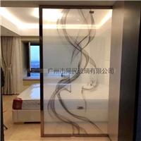 广州夹山水画玻璃 楼房售卖部屏风山水画玻璃厂