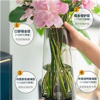 玻璃花瓶人工吹制原色玻璃花瓶描金客厅装饰瓶