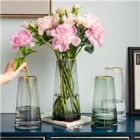 玻璃花瓶人工吹制原色玻璃花瓶描金客厅装饰瓶厂
