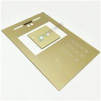 金色丝印人脸识别面板玻璃 智能面板钢化玻璃 可打孔