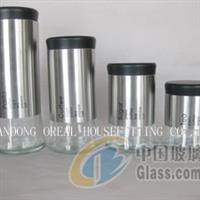 不銹鋼套皮玻璃罐-廠家