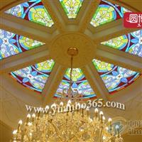专业定制销售彩色彩绘玻璃穹顶
