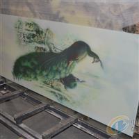 孔雀图案背景墙玻璃