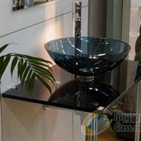 卫浴台盆黑玻璃