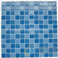 福建蓝色游泳池水晶玻璃马赛克