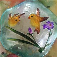 彩绘热熔玻璃鸟澡盆