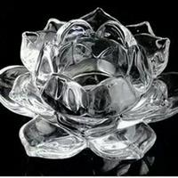 精致工艺水晶玻璃莲花杯蜡烛台