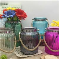 欧式地中海创意蓝色透明玻璃花瓶