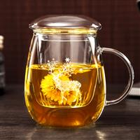 加厚玻璃花茶杯办公室过滤泡茶杯