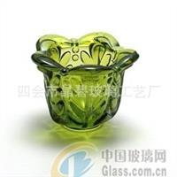 绿色花瓣型玻璃烛杯花瓣玻璃烛杯