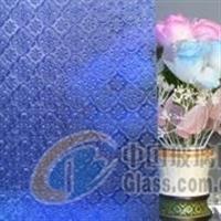 专业生产彩色压花玻璃-蓝海棠