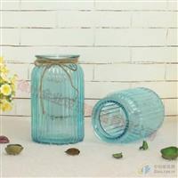 新款地中海竖条纹玻璃花瓶