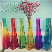 三角玻璃瓶摆件田园窗台花器花瓶